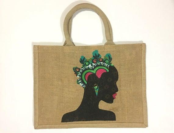 Jute shopping bag hessian shopper jute carrier bag handy shopper African bantu knots shopping bag African print tote bag